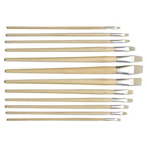 White Bristle long handle flat